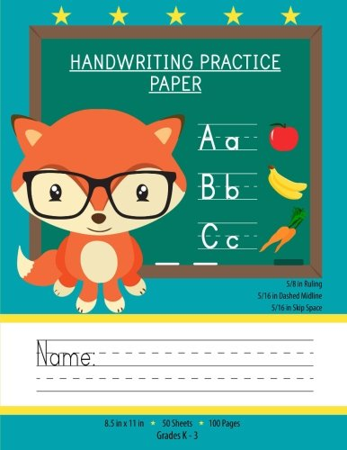 Handwriting Practice Paper: Notebook With Blank Writing Sheets For Kindergarten To 3rd Grade Students (Large 8.5x11 Inches - 50 Sheets - 100 Pages)