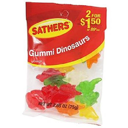 Product Of Sathers, 2/$1.50 Gummi Dinosaurs, Count 12 (2.65 oz) X 2 (Package Quantity 2) Sugar Candy - (Buy Bulk at a Wholesale ()