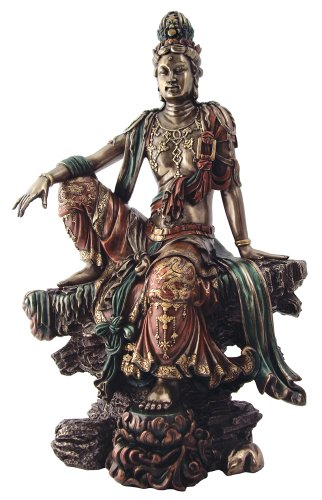 """Seated Guanyin Bodhisattva (Water and Moon Kwan-Yin) Real Bronze Powder Cast Statue Sculpture 16.75"""""""