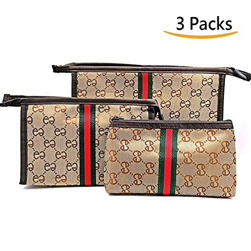 Cosmetic Bag Travel Makeup Pouch Travel Toiletry Pouches Handbag Toiletry Kit Fashion Women Handy Organizer Case with Zipper, Set of 3 (Large, Medium, Small)