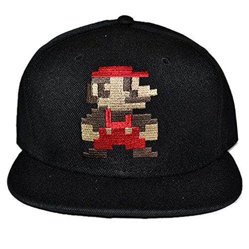 LOCOMO Super Mario Bros Luigi Embroidery Snapback Baseball Brim Cap (Mario And Luigi Hats For Sale)