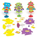 Baker Ross Robot Jump-up Kits for Children to Design Make and Decorate - Creative Craft Toy Set for Kids (Pack of 6)