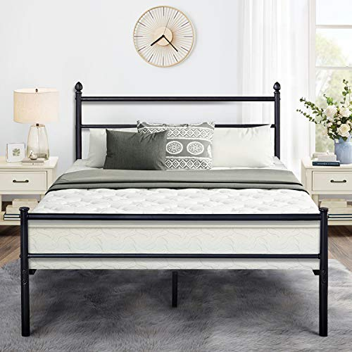 VECELO Reinforced Metal Bed Frame Full Size, Platform Mattress Foundation/Box Spring Replacement with Headboard & Footboard ()