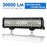 12 Inch LED Light Bar Spot Flood Combo Beam Liteway 30000 LM Triple Row Light Bar Off Road Driving Led Work Lights for UTV ATV Jeep Truck Boat Waterproof, 1 Year Warranty