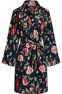 SofiePJ Women's Cotton Floral Print Poplin Knee Length Kimono Robe