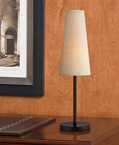 Snippet Modern Table Lamp Espresso Bronze Metal Off White Linen Tapered Shade for Living Room Family Bedroom Bedside Office - 360 Lighting ()