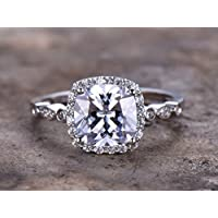 2.5ct Cushion Cut Engagement ring,925 sterling silver art deco wedding band,8mm CZ Bridal ring,Retro vintage,antique white gold plated,Man Made diamond CZ ring,any size