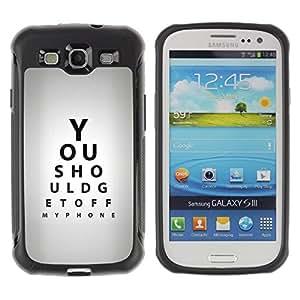Suave TPU Caso Carcasa de Caucho Funda para Samsung Galaxy S3 I9300 / Optometrist Eye Test Quote Gray Black / STRONG