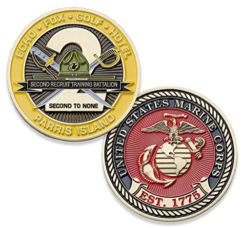 USMC Second Recruit Training Battalion Challenge Coin - 2nd BN Parris Island - Marine Corps Training Military Coins - Designed by Marines for Marines - Officially License