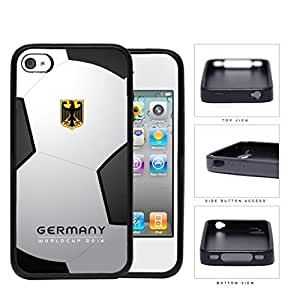 Germany World Cup 2014 Professional Soccer Sports Team with White and Black Soccer Ball Background Hard Rubber TPU Phone Case iPhone 4 4s