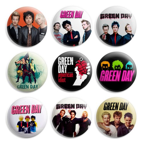 Green Day Pinback Buttons Pin Badges 1 Inch (25mm) - Pack of 9