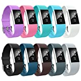 AIUNIT Fitbit Charge 2 Bands, Fitbit Charge 2 Accessory Bands Small Replacement Wristbands for Fitbit Charge 2 Bracelet Strap Band With 3pack Extra Buckles for Women Men Boys Girls