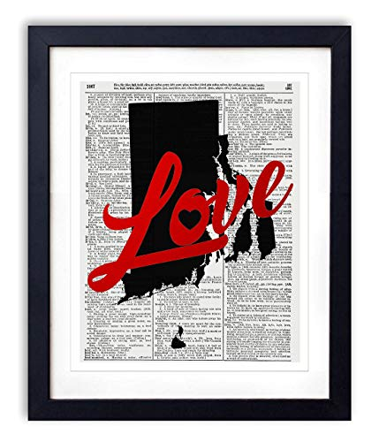 (Rhode Island Love Red Foil Stamped Art Print - Vintage Dictionary Reproduction Art Print