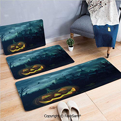 FashSam 3 Piece Non Slip Flannel Door Mat Halloween Pumpkin in Spooky Graveyard Eerie Gloomy Stormy Atmosphere Indoor Carpet for Bath Kitchen(W15.7xL23.6 by W19.6xL31.5 by W19.6xL59)