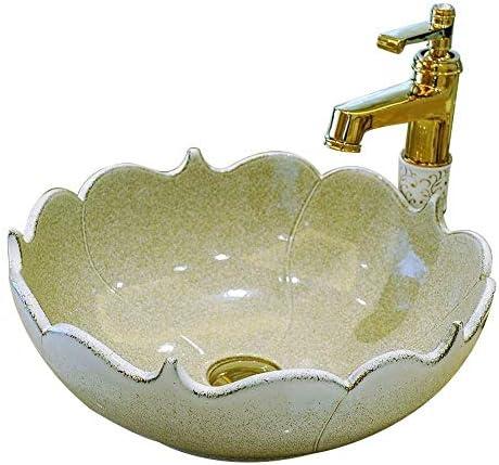 Yadianna バスルームにセラミック洗面台、セラミックハンドペイントバスルームのシンク盆地、ラウンド容器シンク、41X15センチ(蛇口含まれていない)耐久性