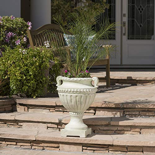 Great Deal Furniture Alice Outdoor White Moss Finish Light Weight Concrete Urn by Great Deal Furniture (Image #5)