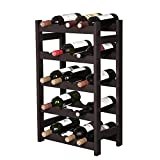 SONGMICS Wood 20-Bottle Wine Display Rack, Free Standing Bottles Storage Shelf, Wobble-Free, Espresso ULWR01BR