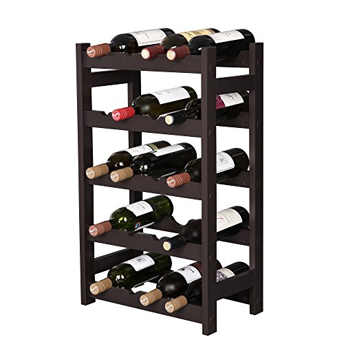 SONGMICS Wood 20-Bottle Wine Display Rack, Free Standing Bottles Storage Shelf, Wobble-Free, Espresso ULWR01BR 100 Bottle Wine Rack