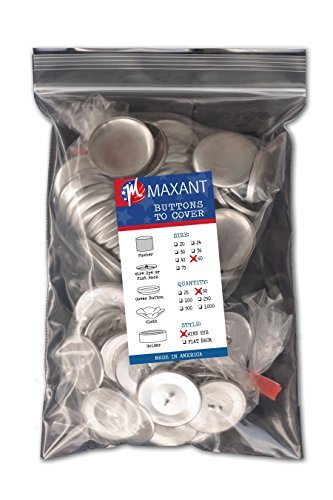 Cover Button Refill (50 Buttons to Cover - Made in USA - Cover Button With Wire Eye Backs 60 (1 1/2