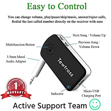 Tewtross Bluetooth V5.0 Audio Receiver Connector Aux for Car Stereo Music System Speaker Premium CSR Chipset Mic Dual Pairing (Bluetooth Receiver) 11
