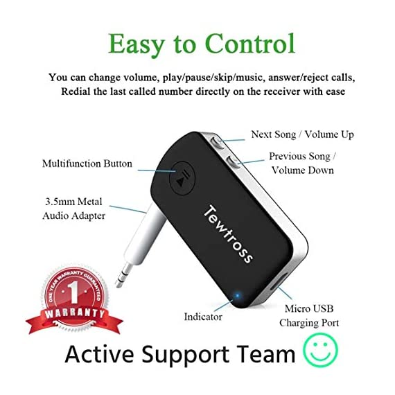 Tewtross Bluetooth V5.0 Audio Receiver Connector Aux for Car Stereo Music System Speaker Premium CSR Chipset Mic Dual Pairing (Bluetooth Receiver) 4