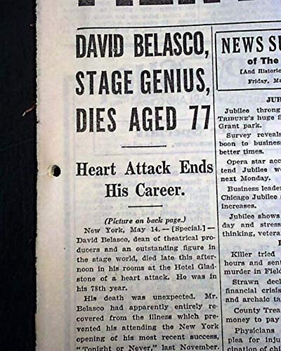 DAVID BELASCO Theater Stage Playwright Producer Impresario DEATH 1931 Newspaper CHICAGO DAILY TRIBUNE, May 15, 1931