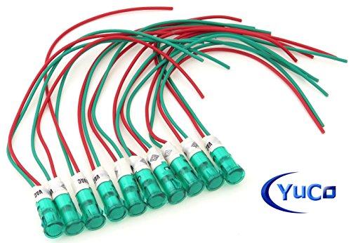 230v Mini (PACK OF 10 YuCo 9MM MINI LED PILOT LIGHT GREEN 230VAC WIRE PLUG-IN FLAT ROUND CAP MINIATURE LIGHT YC-9WPM-5G-220-10)