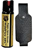 Wildfire Self Defense Pepper Spray ( 4 OZ ) Stream 18% OC Spray with Leatherette Holster with a range of 15-18 feet