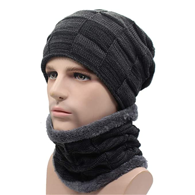 eb006af01a8 Image Unavailable. Image not available for. Color  Qianmome Winter Beanie  Scarf Skullies Skull Warm Baggy Cap Mask Gorros Knitted Hat