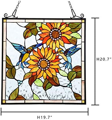 River of Goods Modern Geometric 23 Inch High Stained Glass Window Panel, Red, Orange, Clear, Blue