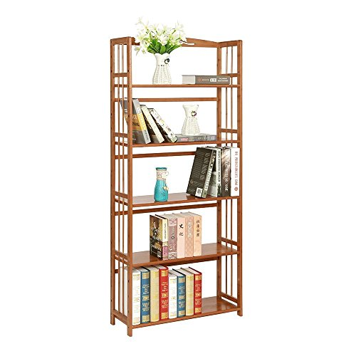 Cheap maxgoods Bamboo Bookcase 5-tier,Easy Assembly Heavy Duty Bookshelf,Media Plants Cabinet Storage Unit,Sturdy and Versatile Construction,Home Office Furniture (5-tier)
