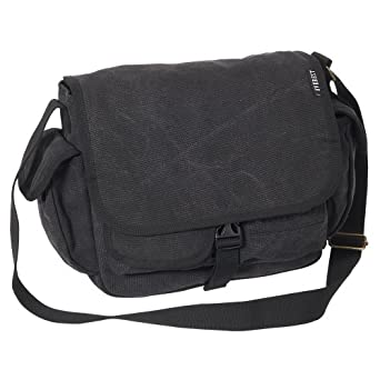 Amazon.com | Everest Luggage Canvas Messenger, Black, Black, One ...