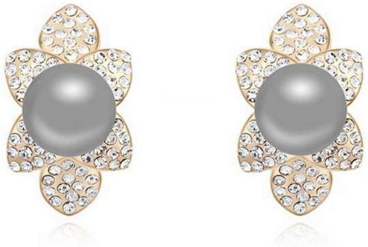 WOZUIMEI Pendiente Colgante de Perla Pendiente de Botón Pendiente de Perla Pendientes de Perno Prisionero Retro Pendientes de Diamantes Simples Accesorios de Moda para Mujeres