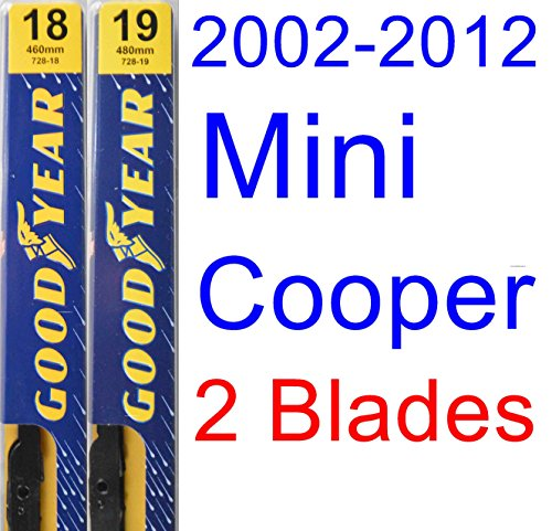 2002-2012 Mini Cooper Replacement Wiper Blade Set/Kit (Set of 2 Blades) (Goodyear Wiper Blades-Premium) (06 Mini Cooper Mini)