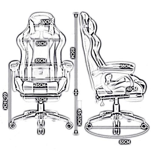 JIEER-C stol svängbar stol racerstol, hög rygg med fotstöd 150 ° liggande justerbar höjd multifunktion spelstol nackstöd och ryggstöd,