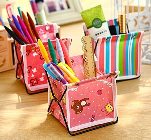 4 OPCC Mini Bright Folding Foldable Makeup Cosmetic Sundry Pouch Storage Box Container Bag Stuff Stationary Organizer Case Basket Desktop Home Office Supplies Pen Pencil Holder by YHWWER