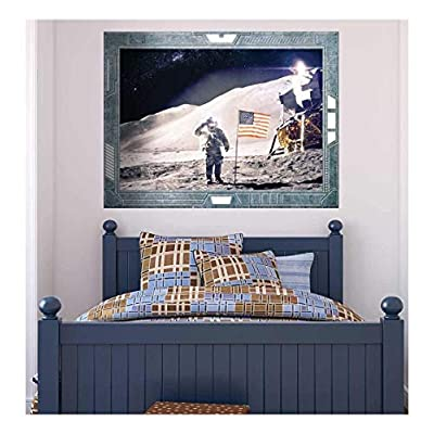 Original Creation, Marvelous Object of Art, Science Fiction ViewPort Decal Landing on the Moon US Astronaut American Flag Wall Mural