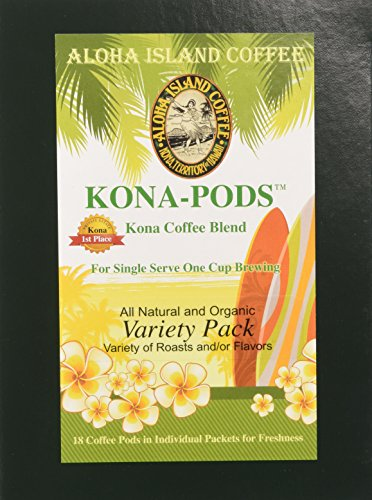 Senseo Coffee Pods, Variety Pack of Kona Blend Coffee Pods for All Senseo-type Pod Brewers, Six Selections, 18 Pods, Reusable Adapter Available for Keurig K-cup Brewing Systems