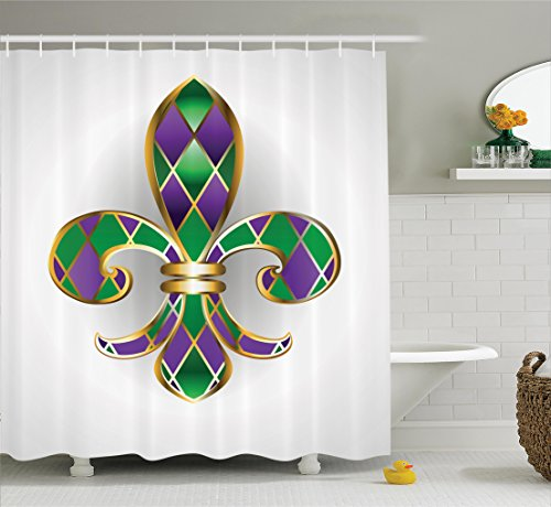 Ambesonne Fleur De Lis Shower Curtain, Golden Yellow Colored Lily Symbol with Diamond Shapes Royalty Theme Ancient, Fabric Bathroom Decor Set with Hooks, 70 Inches, Purple Green