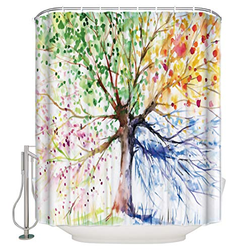 Colorful Tree Art Print Four Seasons Shower Curtain, 84 Inches Extra Long, Polyester Fabric, Bath Decorations Bathroom Decor Sets with Hooks (Curtains Shower Kids Long Fabric)