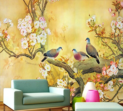 Cheap  Yonthy 3D Wallpaper Living Room Bedroom Classical Flowers and Birds Mural Background..