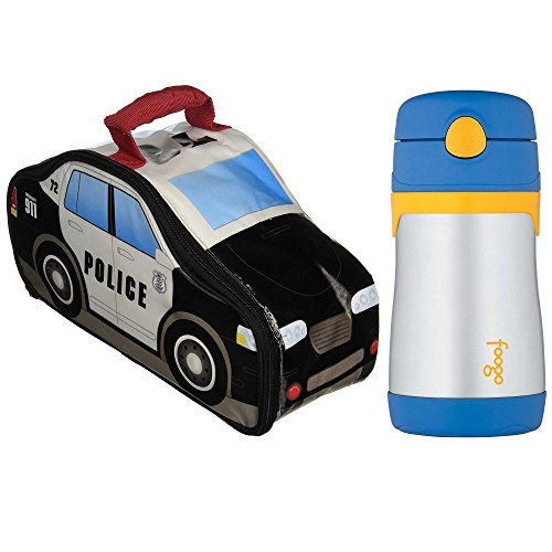Thermos Police Car Novelty Lunch Kit w/ 10 Oz Straw Drink Bottle -