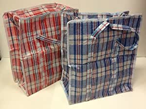 Set Of 4 Extra Large Plastic Checkered Storage Laundry Shopping Bags W Zipper