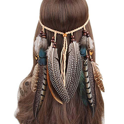 Feather Headband Hippie Indian Boho Hair Bands Tassel Bohemian Halloween Hair Hoop Women Girls Crown Hairband Party Decoration Headdress Cosplay Costume Headwear Headpiece Hair Accessories ()