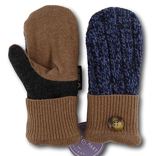 Jack & Mary Designs Handmade Kids Fleece-Lined Wool Mittens, Made from Recycled Sweaters in the USA (Blue/Gray/Brown, Medium/Large)