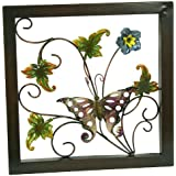 River Cottage Gardens A03849/1-UPS Metal Construction Pink Flower with Butterfly Wall Plaque