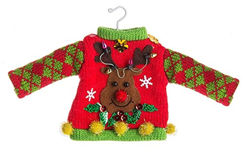 Midwest-CBK Reindeer Ugly Sweater Knitted Ornament