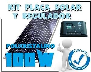 Placa Panel Solar 100w + Regulador de 20A