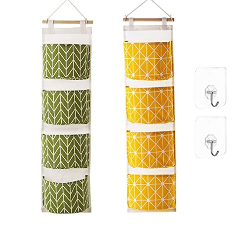 Ricye Over The Door Clost Hanging Storage Bag with 4 Pockets Cotton Fabric Wall Storage Organizer, Come with 2 Pcs Adhesive Wall Hooks,2 Pack (Green+Yellow)