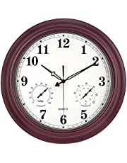 Waterproof Outdoor Clock, Metal Wall Clocks with Thermometer & Hygrometer Combo, Silent Battery Operated Decorative Clock, Large Clock for Pool/Patio/Garden/Fence/Lanai/Bathroom
